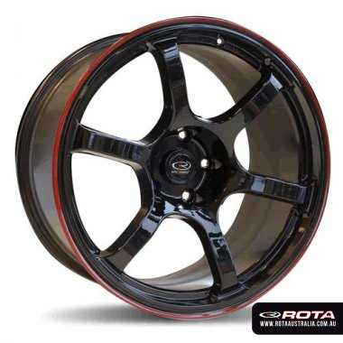 Rota BOOST 17x7.5 4x100 ET45 Flat black with red lip Set of 4 Wheels