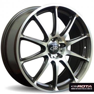 Rota GRA 18x7.5 5x100 ET48 Gunmetal with polished face Set of 4 Wheels