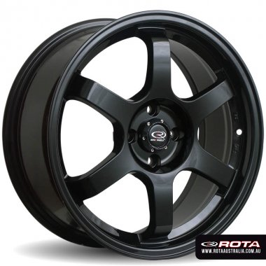 Rota GRID 17x7.5 5x114.3 ET45 Gloss black Set of 4 Wheels