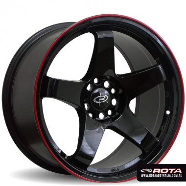 Rota GTR 17x9.5 5x114.3 ET30 Gloss black with red lip Set of 4 Wheels