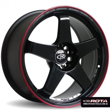 Rota GTR 18x9.5 5x114.3 ET30 Flat black with red lip Set of 4 Wheels