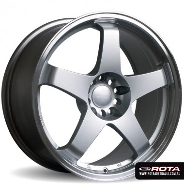 Rota GTR 17x9.5 5x114.3 ET30 Silver w'polished lip Set of 4 Wheels