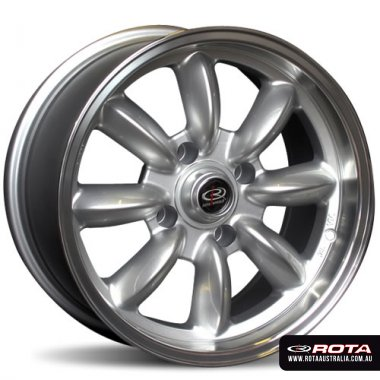 Rota RB 15x8 4x100 ET25 Silver with polished lip Set of 4 Wheels