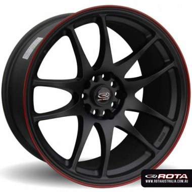Rota TORQUE 18x9.5 5x114.3 ET30 Flat black with red lip Set of 4 Wheels